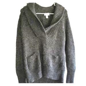 Charcoal - •Ann Taylor LOFT•   Waffle-Knit Sweater